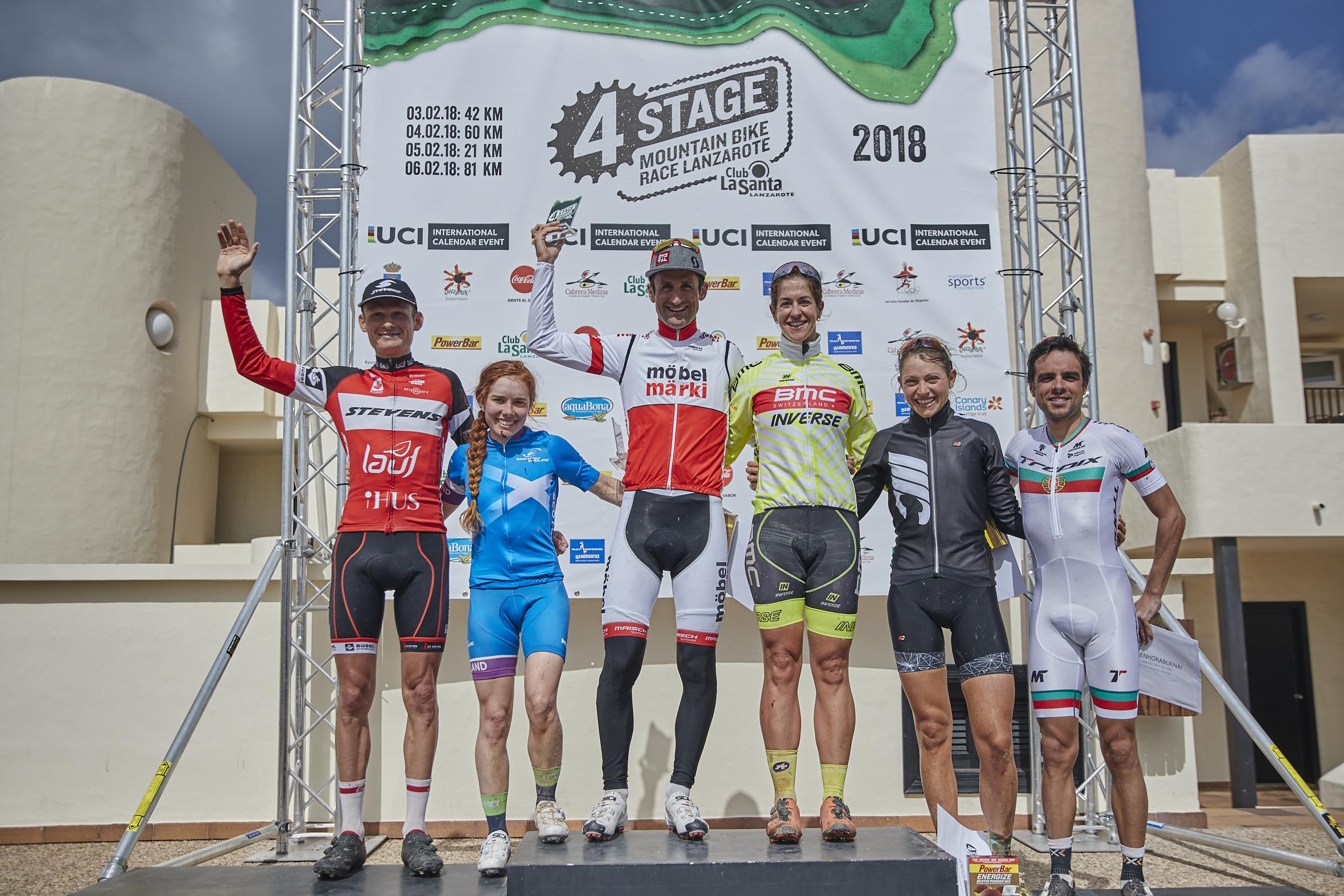 Karl Markt en Mayalen Noriega winnen eerste rit 4Stage MTB Lanzarote