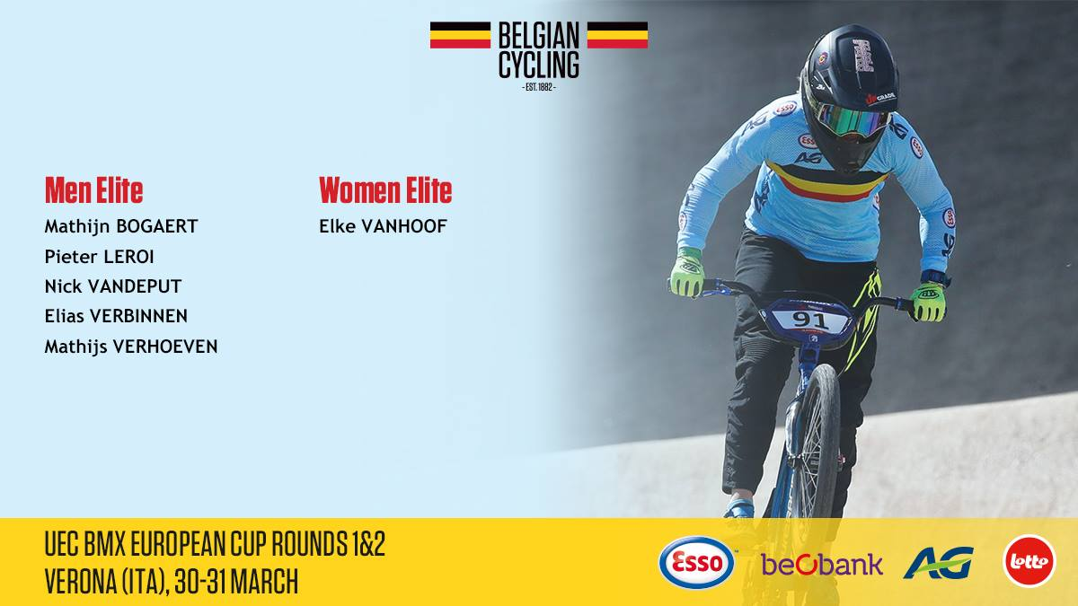 Geselecteerde BMX rijders voor de eerste en tweede Europese Ronde in Verona