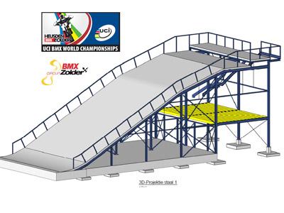 Eerste Olympische BMX startheuvel van 8 m op Lotto track in Zolder