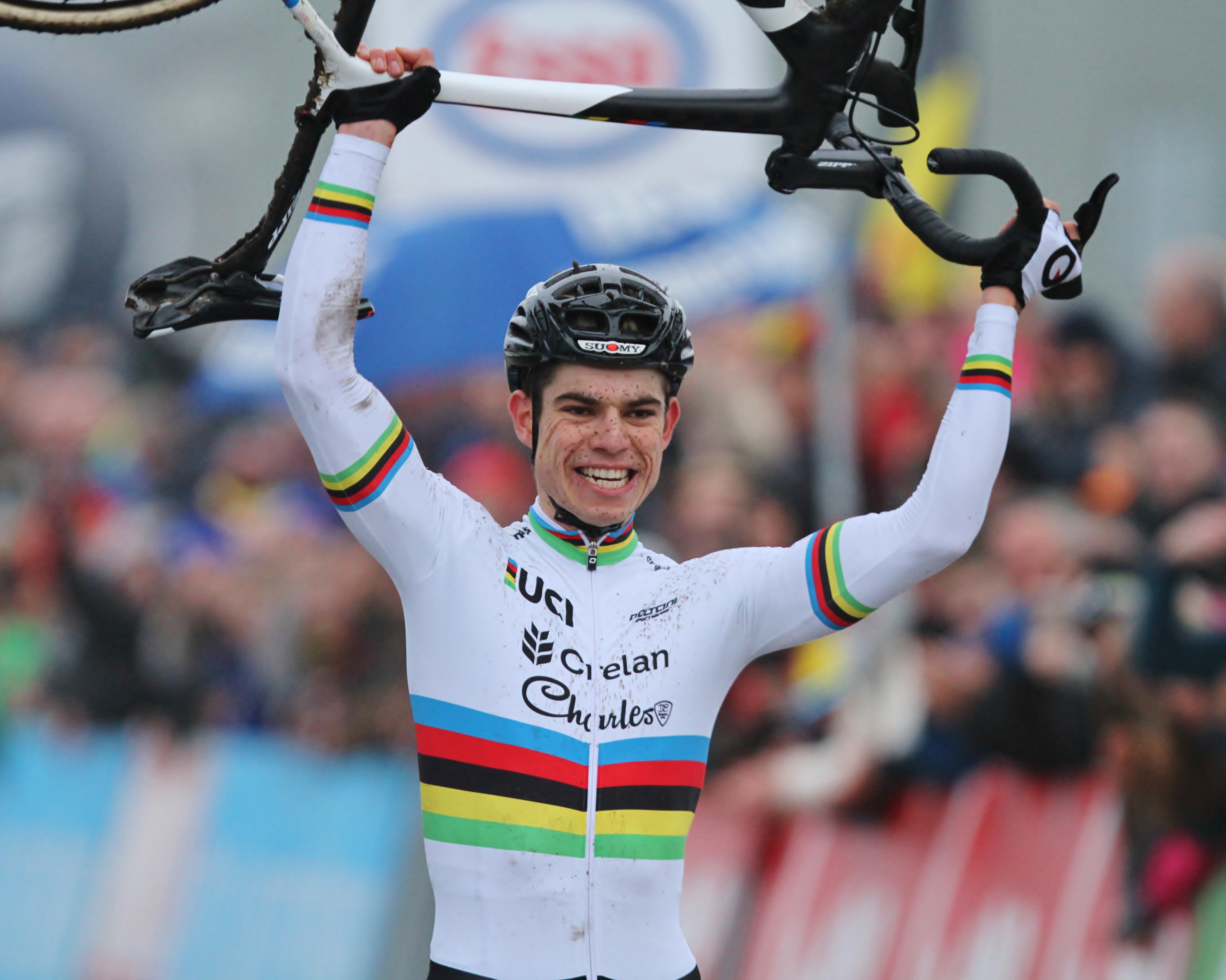 Koning Regelmaat Wout Van Aert pakt voor de tweede maal op rij de Belgische titel.